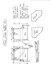 Esquema de modelagem de short simples cós médio tamanho 48.