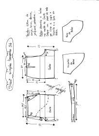 Esquema de modelagem de short simples cós médio tamanho 56.