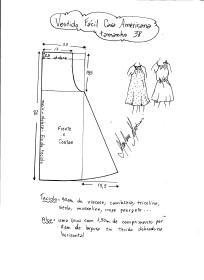 Esquema de modelagem de vestido fácil com cava americana tamanho 38.