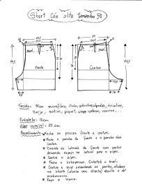 Esquema de modelagem de short cintura alta tamanho 50.