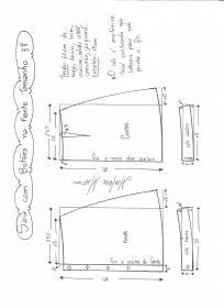 Esquema de modelagem de saia evasê com botões tamanho 38.