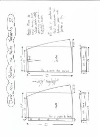 Esquema de modelagem de saia evasê com botões tamanho 52.