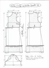 Esquema de modelagem de vestido vintage com babado tamanho 44.