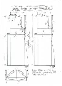 Esquema de modelagem de vestido vintage com prega tamanho 46.