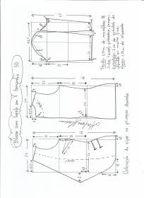 Esquema de modelagem de blazer com lapela tamanho 50.