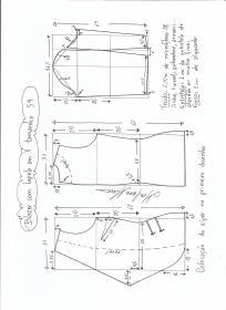 Esquema de modelagem de blazer com lapela tamanho 54.