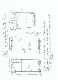 Esquema de modelagem de blusa  de moletom tamanho 56.