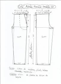 Esquema de modelagem de calça de moletom feminina tamanho 50.