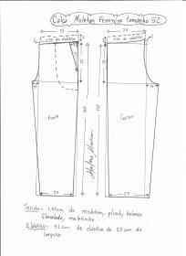 Esquema de modelagem de calça de moletom feminina tamanho 52.
