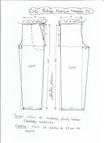 Esquema de modelagem de calça de moletom feminina tamanho 54.
