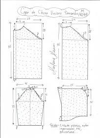 Esquema de modelagem de capa de chuva tamanho M.