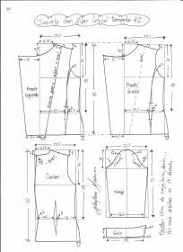 Esquema de modelagem de jaqueta com zíper e transpasse tamanho 42.