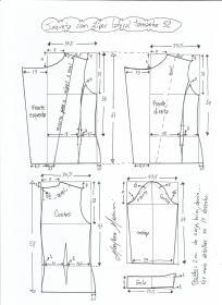 Esquema de modelagem de jaqueta com zíper e transpasse tamanho 52.