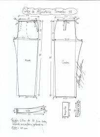 Esquema de modelagem de calça alfaiataria tamanho 38.
