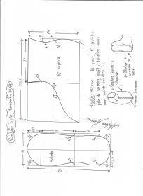 Esquema de modelagem de pantufas  slippers tamanho 37/38.