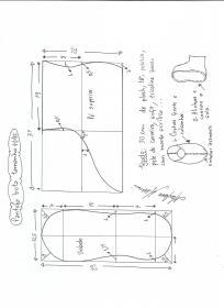 Esquema de modelagem de pantufas  slippers tamanho 41.42.