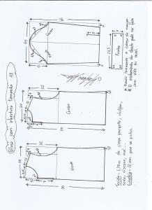 Esquema de modelagem de blusa com abertura na frente e costas tamanho 48.