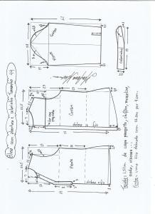 Esquema de modelagem de blusa com abertura e meio colarinho tamanho 44.