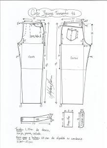 Esquema de modelagem de calça jeans tradicional tamanho 46.