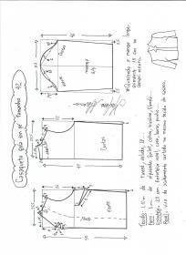 Esquema de modelagem de casaqueto gola alta com manga 3/4 tamanho 42