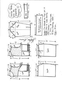 Esquema de modelagem de vestido tubinho com aba pregueada e detalhe em renda tamanho 40.