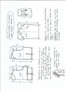 Esquema de modelagem de vestido de inverno com recorte abaixo do busto tamanho 54.