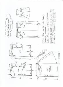 Esquema de modelagem de vestido de inverno com saia rodada tamanho 40.