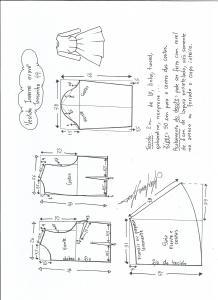 Esquema de modelagem de vestido de inverno com saia rodada tamanho 44.