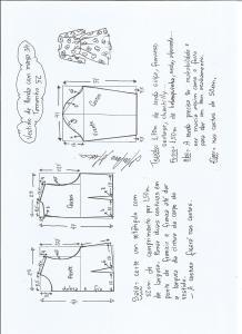 Esquema de modelagem de vestido meia estação de renda e manga 3/4 tamanho 52.