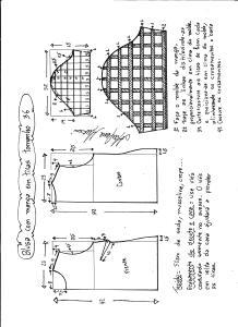 Esquema de modelagem de blusa com manga em tiras tamanho 36.