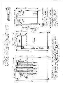 Esquema de modelagem de camisa com nervuras tamanho 40.