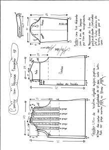 Esquema de modelagem de camisa com nervuras tamanho 48.
