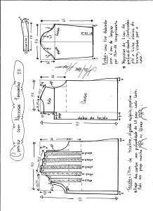 Esquema de modelagem de camisa com nervuras tamanho 50.