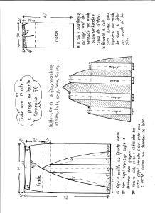 Esquema de modelagem de saia com recorte vertical e pregas tamanho 50.