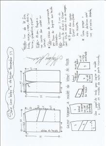 Esquema de modelagem de saia com bolsos e debrum tamanho 54.