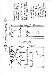 Esquema de modelagem de vestido tubinho com decote cruzado tamanho 38.