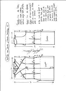 Esquema de modelagem de vestido tubinho com decote cruzado tamanho 42.