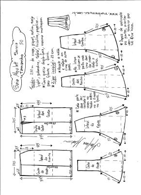 Esquema de modelagem de saia mulet sereia tamanho 50.