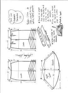 Esquema de modelagem de saia sino com pregas diagonais tamanho 50.
