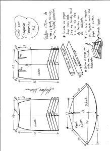Esquema de modelagem de saia sino com pregas diagonais tamanho 52.