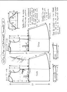 Esquema de modelagem de vestido vintage com botões na frente tamanho 38.