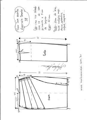Esquema de modelagem de saia com recorte diagonal tamanho 38.