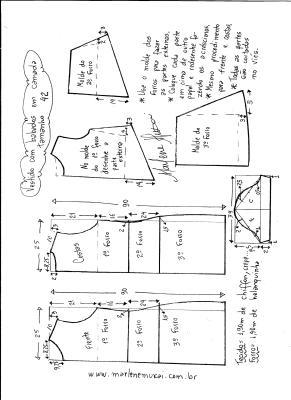 Esquema de modelagem de vestido em camadas tamanho 42.