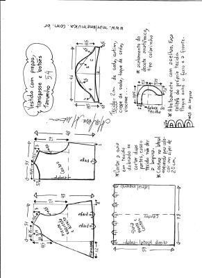 Esquema de modelagem do vestido com transpasse e botões na frente e pregas tamanho 54.