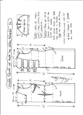 Esquema de modelagem de vestido tubinho com decote nas costas e manga copinho tamanho 56.