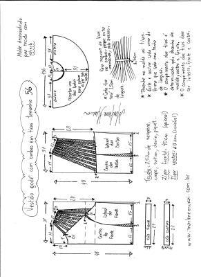 Esquema de modelagem de vestido godê com tiras no ombro tamanho 56.