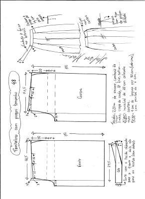 Esquema de modelagem de pantalona com pregas tamanho 48.