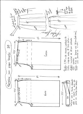 Esquema de modelagem de pantalona com pregas tamanho 50.