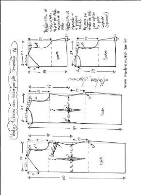 Esquema de modelagem de vestido de festa tubinho com sobreposição tamanho 46.