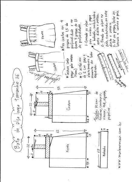 Esquema de modelagem de bata com alça larga e babado tamanho 36.